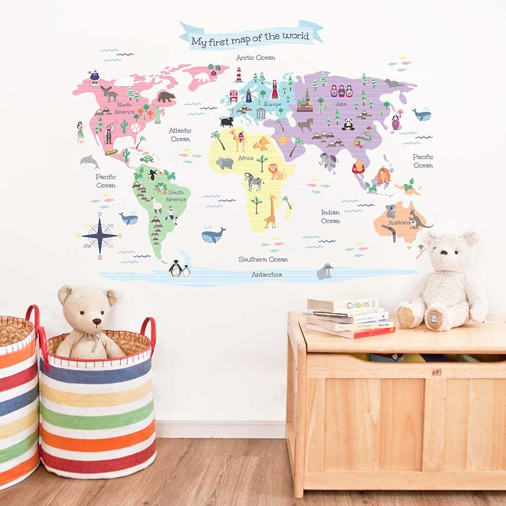 Wall Stickers For Kids World Map Wall Stickers